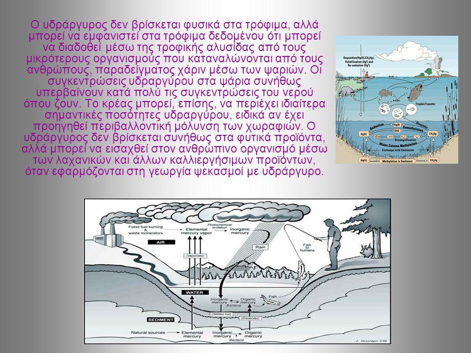 Ο υδράργυρος δεν βρίσκεται φυσικά στα τρόφιμα, αλλά μπορεί να εμφανιστεί στα τρόφιμα δεδομένου ότι μπορεί να διαδοθεί μέσω της τροφικής αλυσίδας από τους μικρότερους οργανισμούς που καταναλώνονται από τους ανθρώπους, παραδείγματος χάριν μέσω των ψαριών.