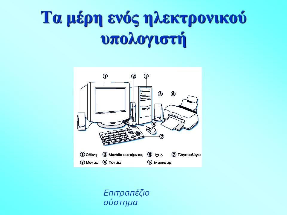 Τα μέρη ενός ηλεκτρονικού υπολογιστή Επιτραπέζιο σύστημα