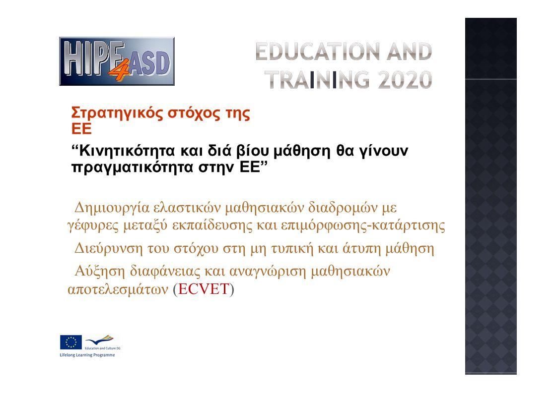 Στρατηγικός στόχος της ΕΕ Κινητικότητα και διά βίου μάθηση θα γίνουν πραγματικότητα στην ΕΕ Δημιουργία ελαστικών μαθησιακών διαδρομών με γέφυρες μεταξύ εκπαίδευσης και επιμόρφωσης-κατάρτισης Διεύρυνση του στόχου στη μη τυπική και άτυπη μάθηση Αύξηση διαφάνειας και αναγνώριση μαθησιακών αποτελεσμάτων (ECVET)