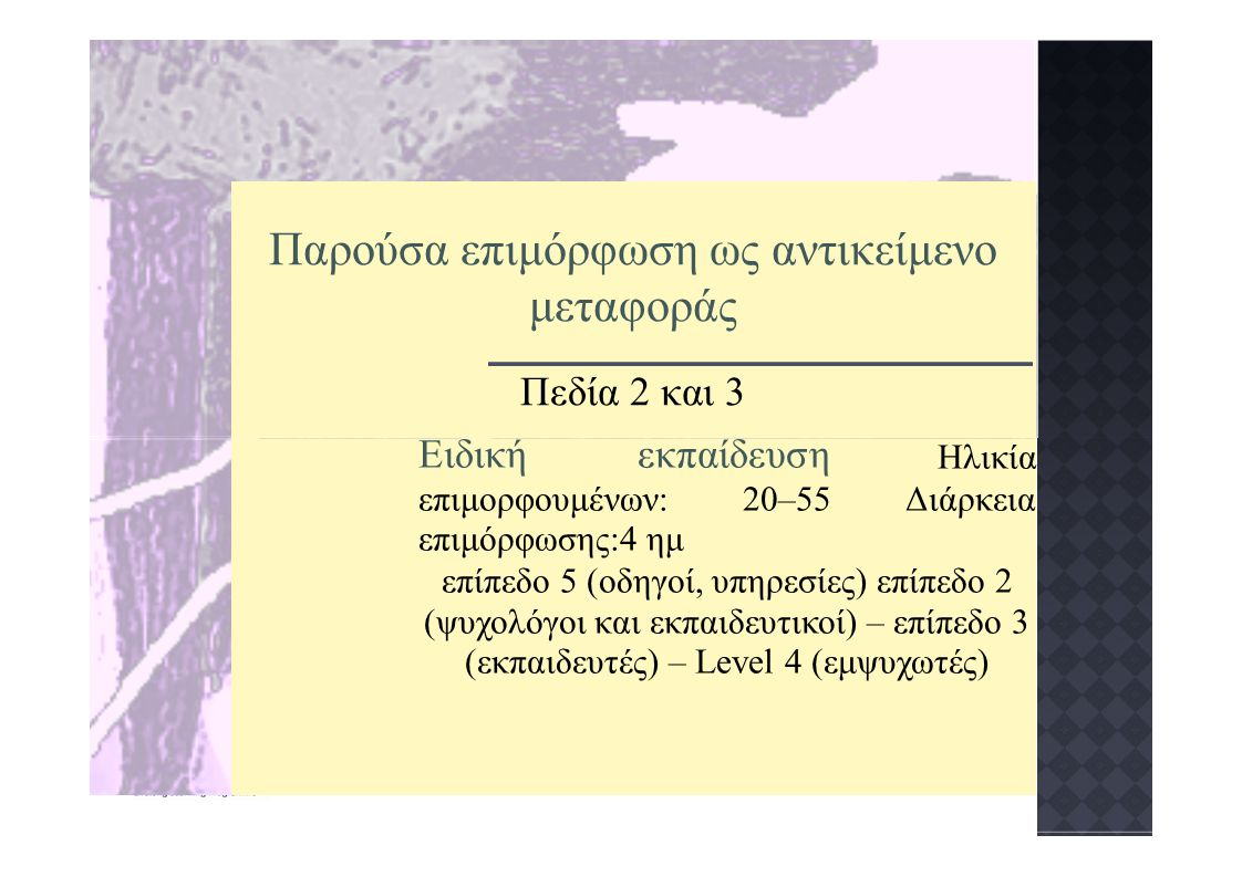 Παρούσα επιμόρφωση ως αντικείμενο μεταφοράς Πεδία 2 και 3 Ειδική εκπαίδευση Ηλικία επιμορφουμένων: 20–55 Διάρκεια επιμόρφωσης:4 ημ επίπεδο 5 (οδηγοί, υπηρεσίες) επίπεδο 2 (ψυχολόγοι και εκπαιδευτικοί) – επίπεδο 3 (εκπαιδευτές) – Level 4 (εμψυχωτές)
