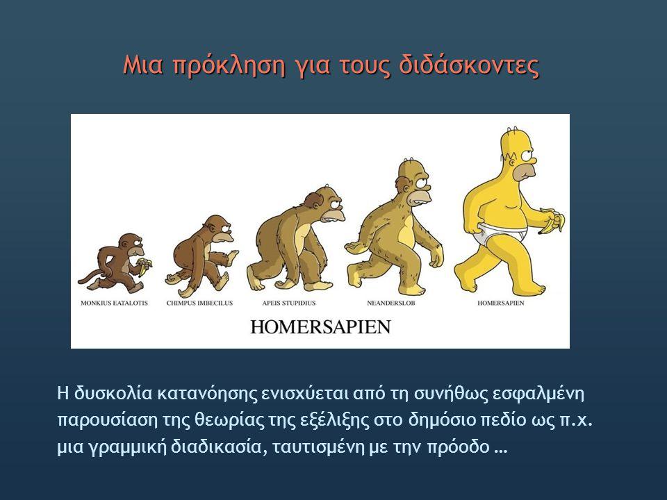 Μια πρόκληση για τους διδάσκοντες H δυσκολία κατανόησης ενισχύεται από τη συνήθως εσφαλμένη παρουσίαση της θεωρίας της εξέλιξης στο δημόσιο πεδίο ως π