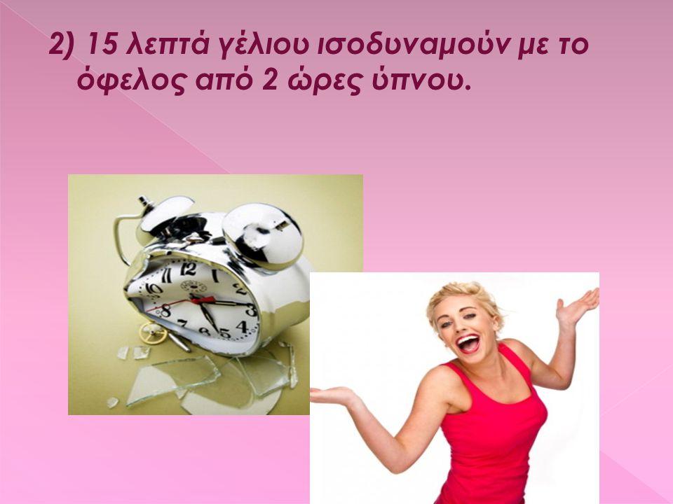 2) 15 λεπτά γέλιου ισοδυναμούν με το όφελος από 2 ώρες ύπνου.