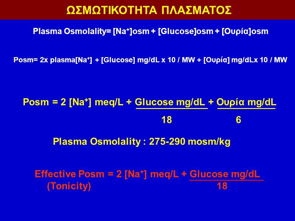 Posm = 2 [Na + ] meq/L + Glucose mg/dL + Ουρία mg/dL 18 6 Plasma Osmolality : 275-290 mosm/kg ΩΣΜΩΤΙΚΟΤΗΤΑ ΠΛΑΣΜΑΤΟΣ Plasma Osmolality= [Na + ]osm + [Glucose]osm + [Ουρία]osm Posm= 2x plasma[Na + ] + [Glucose] mg/dL x 10 / MW + [Ουρία] mg/dLx 10 / MW Effective Posm = 2 [Na + ] meq/L + Glucose mg/dL (Tonicity) 18