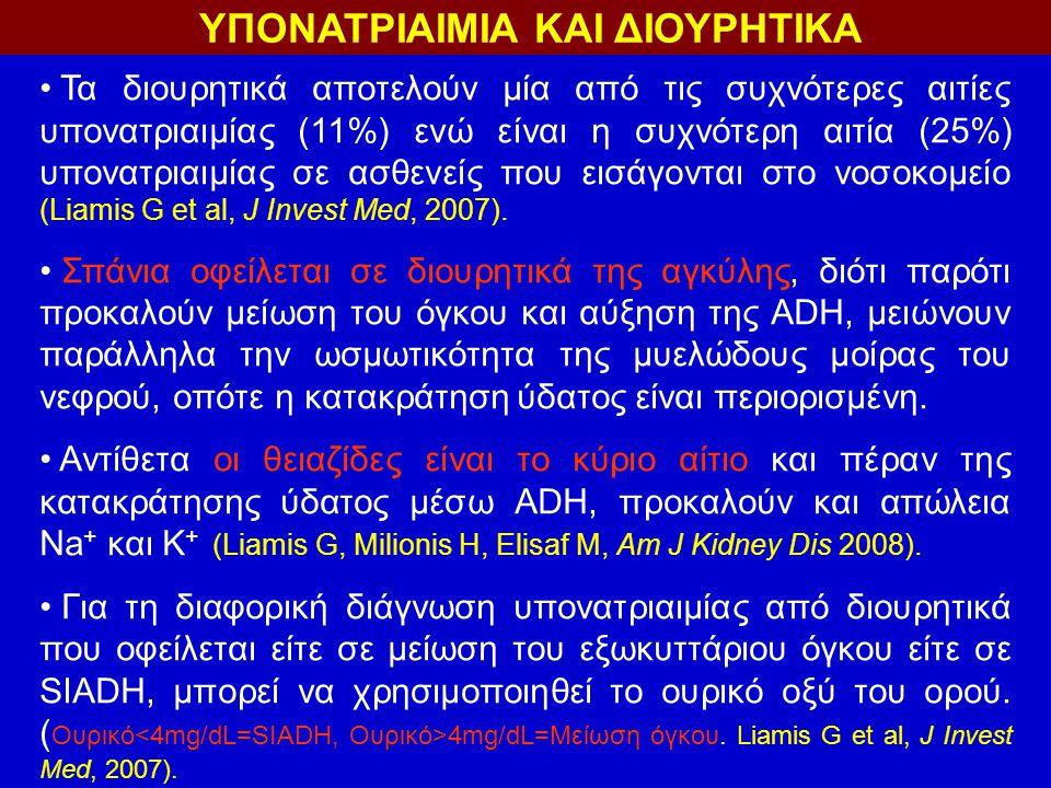 ΥΠΟΝΑΤΡΙΑΙΜΙΑ ΚΑΙ ΔΙΟΥΡΗΤΙΚΑ Τα διουρητικά αποτελούν μία από τις συχνότερες αιτίες υπονατριαιμίας (11%) ενώ είναι η συχνότερη αιτία (25%) υπονατριαιμίας σε ασθενείς που εισάγονται στο νοσοκομείο (Liamis G et al, J Invest Med, 2007).