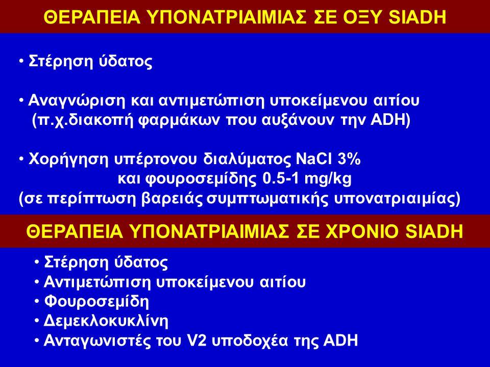 ΘΕΡΑΠΕΙΑ ΥΠΟΝΑΤΡΙΑΙΜΙΑΣ ΣΕ ΟΞΥ SIADH Στέρηση ύδατος Αναγνώριση και αντιμετώπιση υποκείμενου αιτίου (π.χ.διακοπή φαρμάκων που αυξάνουν την ΑDH) Χορήγηση υπέρτονου διαλύματος NaCl 3% και φουροσεμίδης 0.5-1 mg/kg (σε περίπτωση βαρειάς συμπτωματικής υπονατριαιμίας) ΘΕΡΑΠΕΙΑ ΥΠΟΝΑΤΡΙΑΙΜΙΑΣ ΣΕ ΧΡΟΝΙΟ SIADH Στέρηση ύδατος Αντιμετώπιση υποκείμενου αιτίου Φουροσεμίδη Δεμεκλοκυκλίνη Ανταγωνιστές του V2 υποδοχέα της ADH