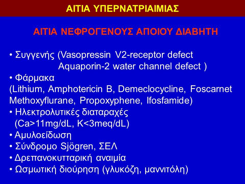 ΑΙΤΙΑ ΝΕΦΡΟΓΕΝΟΥΣ ΑΠΟΙΟΥ ΔΙΑΒΗΤΗ Συγγενής (Vasopressin V2-receptor defect Aquaporin-2 water channel defect ) Φάρμακα (Lithium, Amphotericin B, Demeclocycline, Foscarnet Methoxyflurane, Propoxyphene, Ifosfamide) Ηλεκτρολυτικές διαταραχές (Ca>11mg/dL, K<3meq/dL) Αμυλοείδωση Σύνδρομο Sjögren, ΣΕΛ Δρεπανοκυτταρική αναιμία Ωσμωτική διούρηση (γλυκόζη, μαννιτόλη) ΑΙΤΙΑ ΥΠΕΡΝΑΤΡΙΑΙΜΙΑΣ