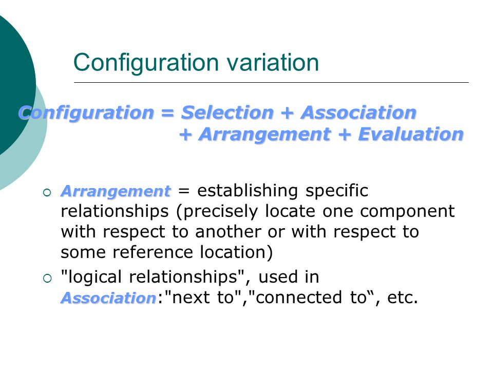 Configuration variation  Arrangement  Arrangement = establishing specific relationships (precisely locate one component with respect to another or with respect to some reference location) Association  logical relationships , used in Association : next to , connected to , etc.