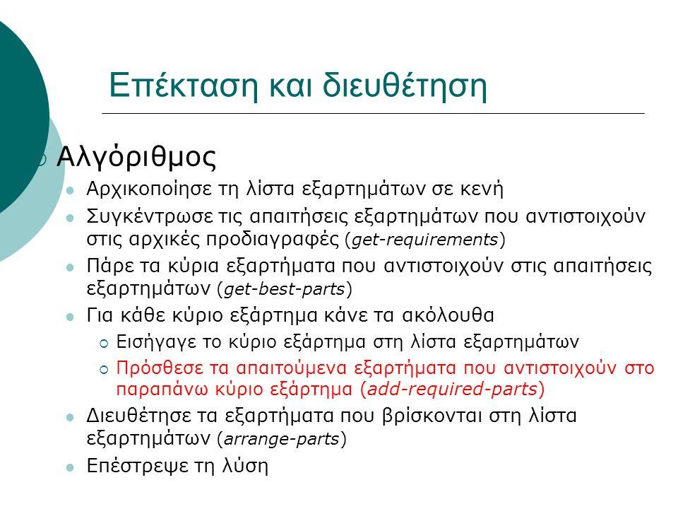 Επέκταση και διευθέτηση  Αλγόριθμος Αρχικοποίησε τη λίστα εξαρτημάτων σε κενή Συγκέντρωσε τις απαιτήσεις εξαρτημάτων που αντιστοιχούν στις αρχικές προδιαγραφές (get-requirements) Πάρε τα κύρια εξαρτήματα που αντιστοιχούν στις απαιτήσεις εξαρτημάτων (get-best-parts) Για κάθε κύριο εξάρτημα κάνε τα ακόλουθα  Εισήγαγε το κύριο εξάρτημα στη λίστα εξαρτημάτων  Πρόσθεσε τα απαιτούμενα εξαρτήματα που αντιστοιχούν στο παραπάνω κύριο εξάρτημα (add-required-parts) Διευθέτησε τα εξαρτήματα που βρίσκονται στη λίστα εξαρτημάτων (arrange-parts) Επέστρεψε τη λύση