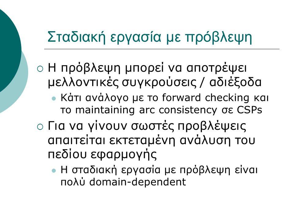 Σταδιακή εργασία με πρόβλεψη  Η πρόβλεψη μπορεί να αποτρέψει μελλοντικές συγκρούσεις / αδιέξοδα Κάτι ανάλογο με το forward checking και το maintaining arc consistency σε CSPs  Για να γίνουν σωστές προβλέψεις απαιτείται εκτεταμένη ανάλυση του πεδίου εφαρμογής Η σταδιακή εργασία με πρόβλεψη είναι πολύ domain-dependent