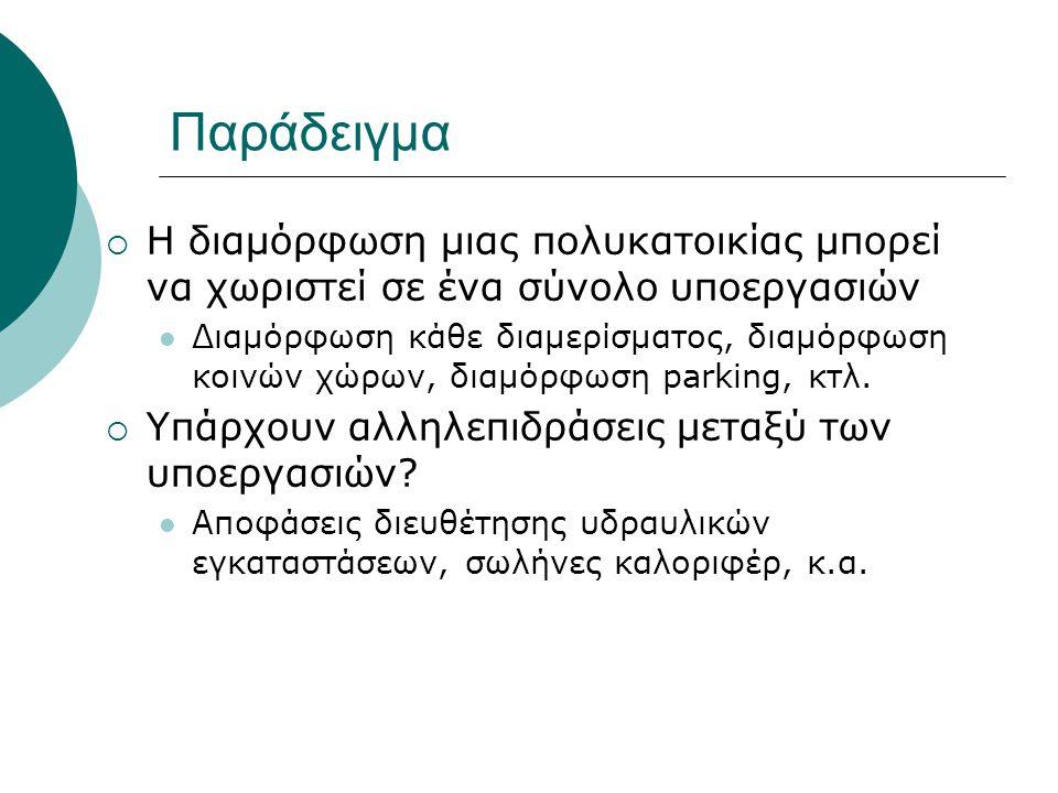 Παράδειγμα  Η διαμόρφωση μιας πολυκατοικίας μπορεί να χωριστεί σε ένα σύνολο υποεργασιών Διαμόρφωση κάθε διαμερίσματος, διαμόρφωση κοινών χώρων, διαμόρφωση parking, κτλ.