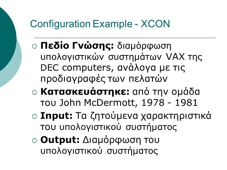 Configuration Example - XCON  Πεδίο Γνώσης: διαμόρφωση υπολογιστικών συστημάτων VAX της DEC computers, ανάλογα με τις προδιαγραφές των πελατών  Κατα