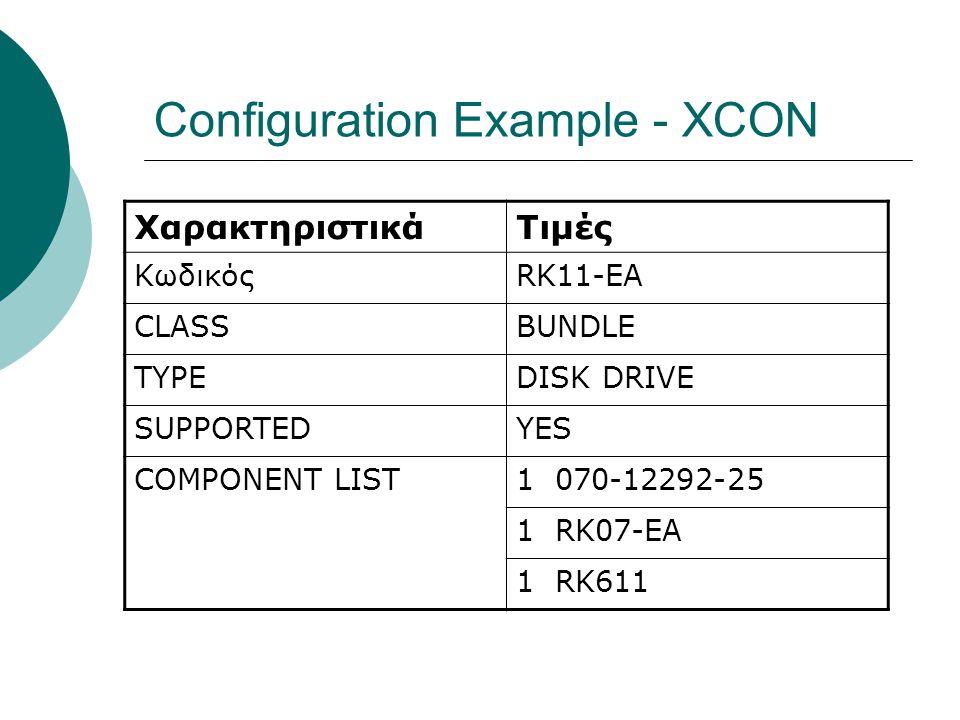 Configuration Example - XCON ΧαρακτηριστικάΤιμές ΚωδικόςRK11-EA CLASSBUNDLE TYPEDISK DRIVE SUPPORTEDYES COMPONENT LIST1 070-12292-25 1 RK07-EA 1 RK611
