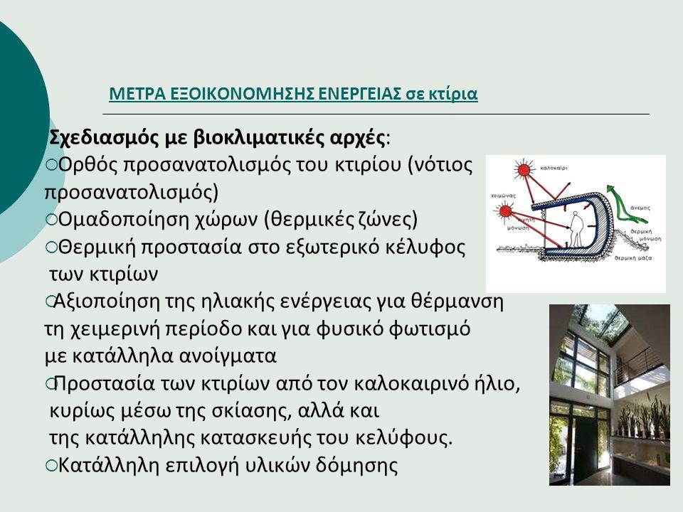 ΜΕΤΡΑ ΕΞΟΙΚΟΝΟΜΗΣΗΣ ΕΝΕΡΓΕΙΑΣ σε κτίρια Σχεδιασμός με βιοκλιματικές αρχές:  Ορθός προσανατολισμός του κτιρίου (νότιος προσανατολισμός)  Ομαδοποίηση
