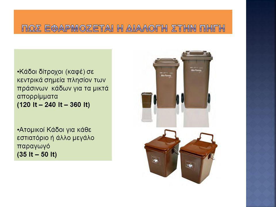 Κάδοι δίτροχοι (καφέ) σε κεντρικά σημεία πλησίον των πράσινων κάδων για τα μικτά απορρίμματα (120 lt – 240 lt – 360 lt) Ατομικοί Κάδοι για κάθε εστιατ