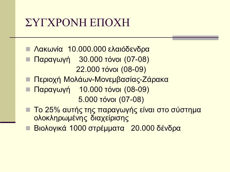 ΣΥΓΧΡΟΝΗ ΕΠΟΧΗ Λακωνία 10.000.000 ελαιόδενδρα Παραγωγή 30.000 τόνοι (07-08) 22.000 τόνοι (08-09) Περιοχή Μολάων-Μονεμβασίας-Ζάρακα Παραγωγή 10.000 τόν