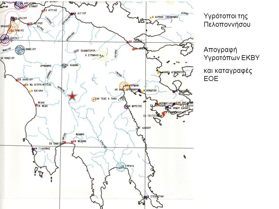 Υγρότοποι της Πελοποννήσου Απογραφή Υγροτόπων ΕΚΒΥ και καταγραφές ΕΟΕ