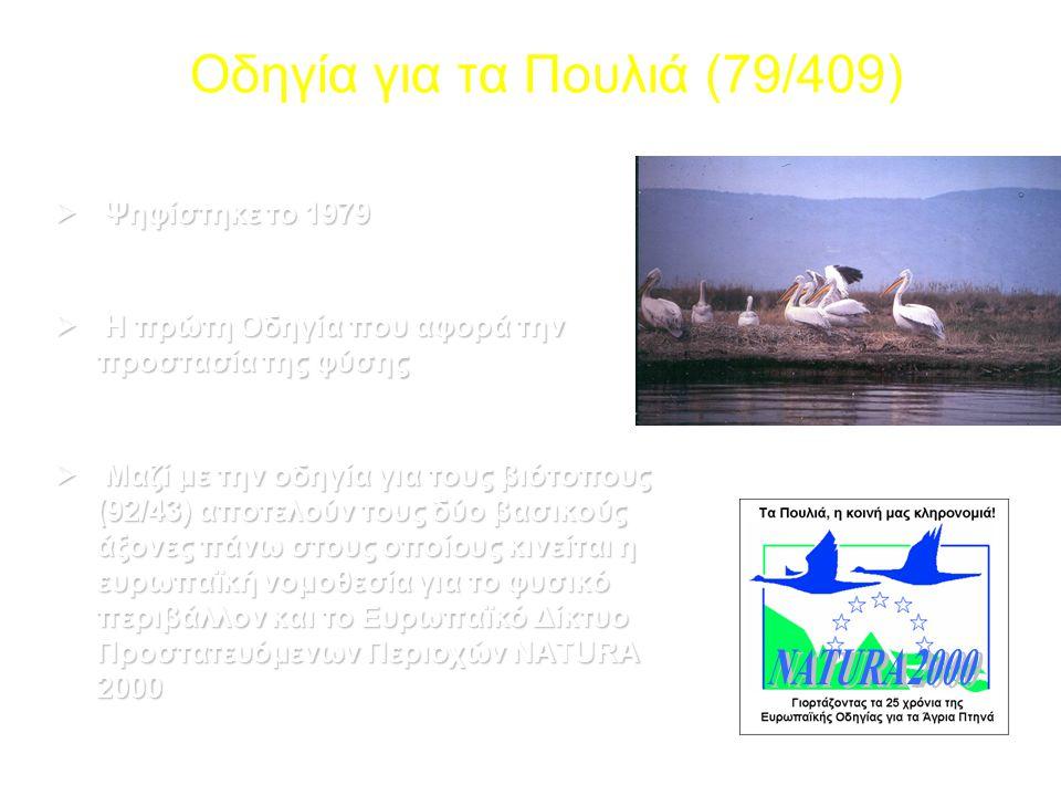 Οδηγία για τα Πουλιά (79/409)  Ψηφίστηκε το 1979  Η πρώτη Οδηγία που αφορά την προστασία της φύσης  Μαζί με την οδηγία για τους βιότοπους (92/43) α