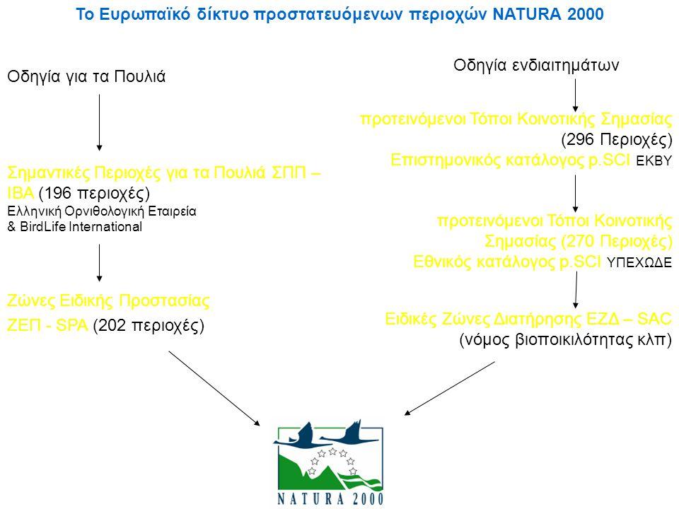 Το Ευρωπαϊκό δίκτυο προστατευόμενων περιοχών NATURA 2000 Σημαντικές Περιοχές για τα Πουλιά ΣΠΠ – ΙΒΑ (196 περιοχές) Ελληνική Ορνιθολογική Εταιρεία & B