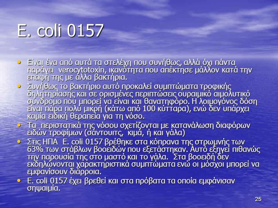 25 E. coli 0157 Είναι ένα από αυτά τα στελέχη που συνήθως, αλλά όχι πάντα παράγει verocytotoxin, ικανότητα που απέκτησε μάλλον κατά την επαφή της με ά