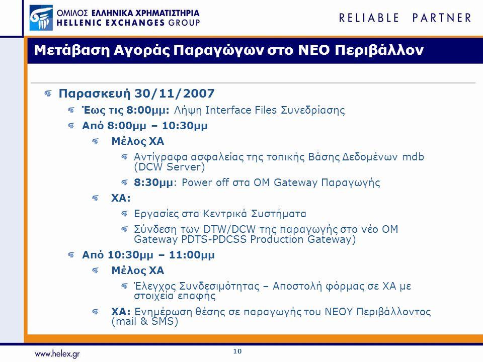 10 Μετάβαση Αγοράς Παραγώγων στο ΝΕΟ Περιβάλλον Παρασκευή 30/11/2007 Έως τις 8:00μμ: Λήψη Interface Files Συνεδρίασης Από 8:00μμ – 10:30μμ Μέλος ΧΑ Αντίγραφα ασφαλείας της τοπικής Βάσης Δεδομένων mdb (DCW Server) 8:30μμ: Power off στα ΟΜ Gateway Παραγωγής XA: Εργασίες στα Κεντρικά Συστήματα Σύνδεση των DTW/DCW της παραγωγής στο νέο OM Gateway PDTS-PDCSS Production Gateway) Από 10:30μμ – 11:00μμ Μέλος ΧΑ Έλεγχος Συνδεσιμότητας – Αποστολή φόρμας σε ΧΑ με στοιχεία επαφής ΧΑ: Ενημέρωση θέσης σε παραγωγής του ΝΕΟΥ Περιβάλλοντος (mail & SMS)