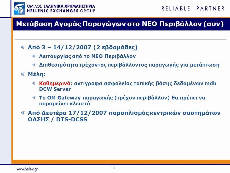 11 Μετάβαση Αγοράς Παραγώγων στο ΝΕΟ Περιβάλλον (συν) Από 3 – 14/12/2007 (2 εβδομάδες) Λειτουργίας από το ΝΕΟ Περιβάλλον Διαθεσιμότητα τρέχοντος περιβάλλοντος παραγωγής για μετάπτωση Μέλη: Καθημερινά: αντίγραφα ασφαλείας τοπικής βάσης δεδομένων mdb DCW Server Το ΟΜ Gateway παραγωγής (τρέχον περιβάλλον) θα πρέπει να παραμείνει κλειστό Από Δευτέρα 17/12/2007 παροπλισμός κεντρικών συστημάτων ΟΑΣΗΣ / DTS-DCSS