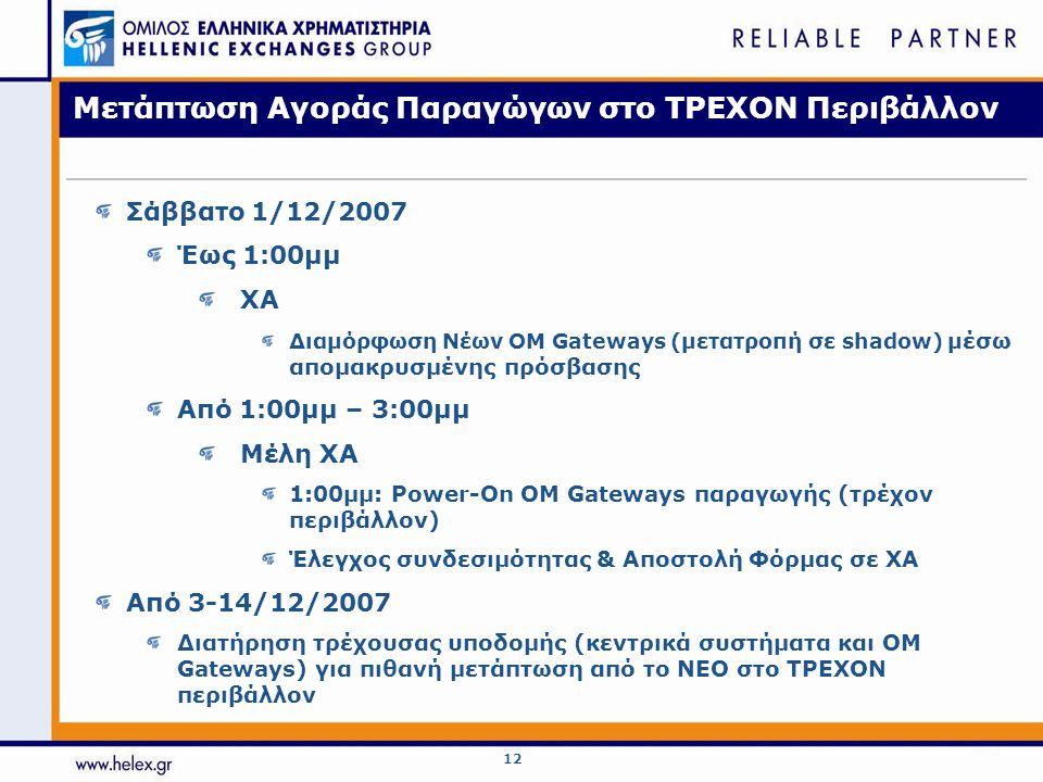 12 Μετάπτωση Αγοράς Παραγώγων στο ΤΡΕΧΟΝ Περιβάλλον Σάββατο 1/12/2007 Έως 1:00μμ ΧΑ Διαμόρφωση Νέων OM Gateways (μετατροπή σε shadow) μ έσω απομακρυσμ