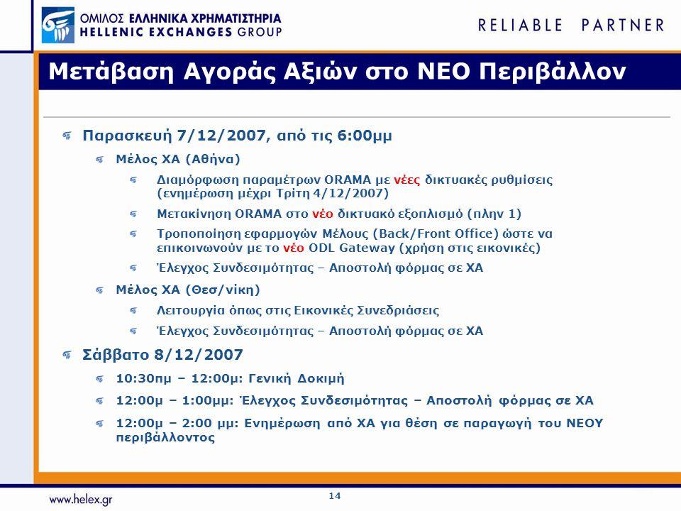 14 Μετάβαση Αγοράς Αξιών στο ΝΕΟ Περιβάλλον Παρασκευή 7/12/2007, από τις 6:00μμ Μέλος ΧΑ (Αθήνα) Διαμόρφωση παραμέτρων ORAMA με νέες δικτυακές ρυθμίσεις (ενημέρωση μέχρι Τρίτη 4/12/2007) Μετακίνηση ORAMA στο νέο δικτυακό εξοπλισμό (πλην 1) Τροποποίηση εφαρμογών Μέλους (Back/Front Office) ώστε να επικοινωνούν με το νέο ODL Gateway (χρήση στις εικονικές) Έλεγχος Συνδεσιμότητας – Αποστολή φόρμας σε ΧΑ Μέλος ΧΑ (Θεσ/νίκη) Λειτουργία όπως στις Εικονικές Συνεδριάσεις Έλεγχος Συνδεσιμότητας – Αποστολή φόρμας σε ΧΑ Σάββατο 8/12/2007 10:30πμ – 12:00μ: Γενική Δοκιμή 12:00μ – 1:00μμ: Έλεγχος Συνδεσιμότητας – Αποστολή φόρμας σε ΧΑ 12:00μ – 2:00 μμ: Ενημέρωση από ΧΑ για θέση σε παραγωγή του ΝΕΟΥ περιβάλλοντος