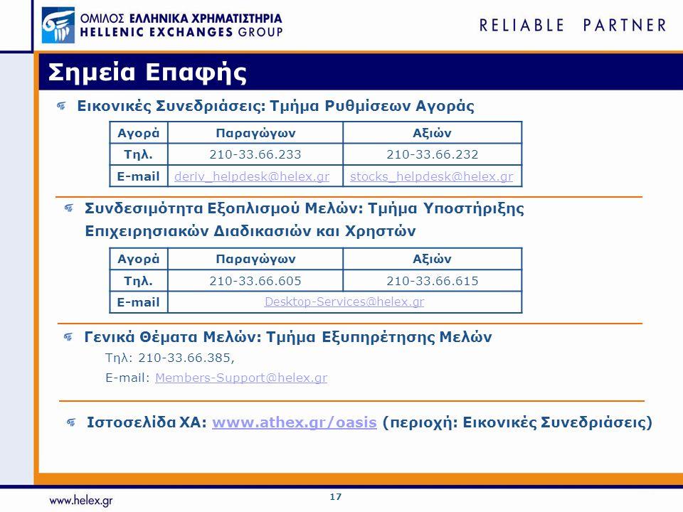 17 Σημεία Επαφής Εικονικές Συνεδριάσεις: Τμήμα Ρυθμίσεων Αγοράς ΑγοράΠαραγώγωνΑξιών Τηλ.210-33.66.233210-33.66.232 E-mailderiv_helpdesk@helex.grstocks
