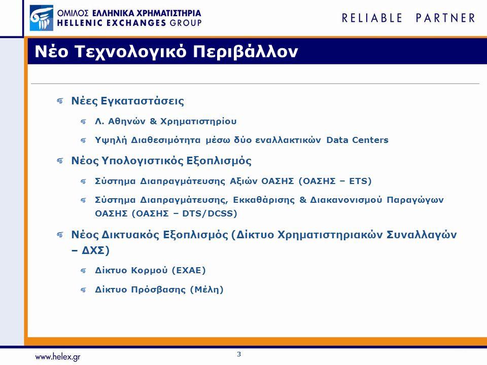 3 Νέο Τεχνολογικό Περιβάλλον Νέες Εγκαταστάσεις Λ. Αθηνών & Χρηματιστηρίου Υψηλή Διαθεσιμότητα μέσω δύο εναλλακτικών Data Centers Νέος Υπολογιστικός Ε
