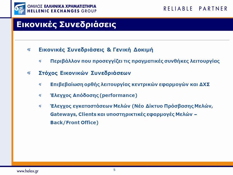 6 Εικονικές Συνεδριάσεις - Παράγωγα Σύστημα Διαπραγμάτευσης Παραγώγων (ΟΑΣΗΣ – DTS/DCSS) Καθημερινά από 26/11/2007 έως και 30/11/2007 (9:00 πμ - 3:00 μμ) Ενεργοποίηση σε παραγωγή: Δευτέρα 3/12/2007.