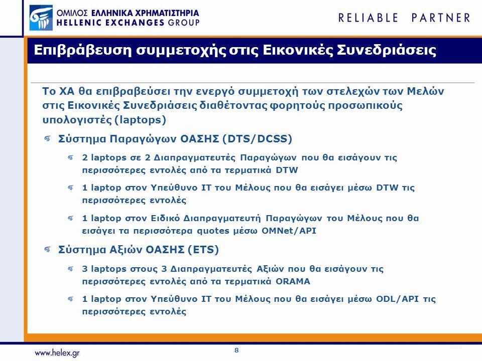 8 Επιβράβευση συμμετοχής στις Εικονικές Συνεδριάσεις Σύστημα Παραγώγων ΟΑΣΗΣ (DTS/DCSS) 2 laptops σε 2 Διαπραγματευτές Παραγώγων που θα εισάγουν τις περισσότερες εντολές από τα τερματικά DTW 1 laptop στον Υπεύθυνο IT του Μέλους που θα εισάγει μέσω DTW τις περισσότερες εντολές 1 laptop στον Ειδικό Διαπραγματευτή Παραγώγων του Μέλους που θα εισάγει τα περισσότερα quotes μέσω OMNet/API Σύστημα Αξιών ΟΑΣΗΣ (ETS) 3 laptops στους 3 Διαπραγματευτές Αξιών που θα εισάγουν τις περισσότερες εντολές από τα τερματικά ORAMA 1 laptop στον Υπεύθυνο IT του Μέλους που θα εισάγει μέσω ODL/API τις περισσότερες εντολές Το ΧΑ θα επιβραβεύσει την ενεργό συμμετοχή των στελεχών των Μελών στις Εικονικές Συνεδριάσεις διαθέτοντας φορητούς προσωπικούς υπολογιστές (laptops)
