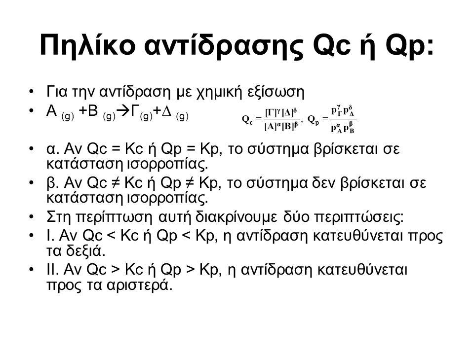 Πηλίκο αντίδρασης Qc ή Qp: Για την αντίδραση µε χηµική εξίσωση Α (g) +B (g)  Γ (g) +∆ (g) α. Αν Qc = Kc ή Qp = Kp, το σύστηµα βρίσκεται σε κατάσταση