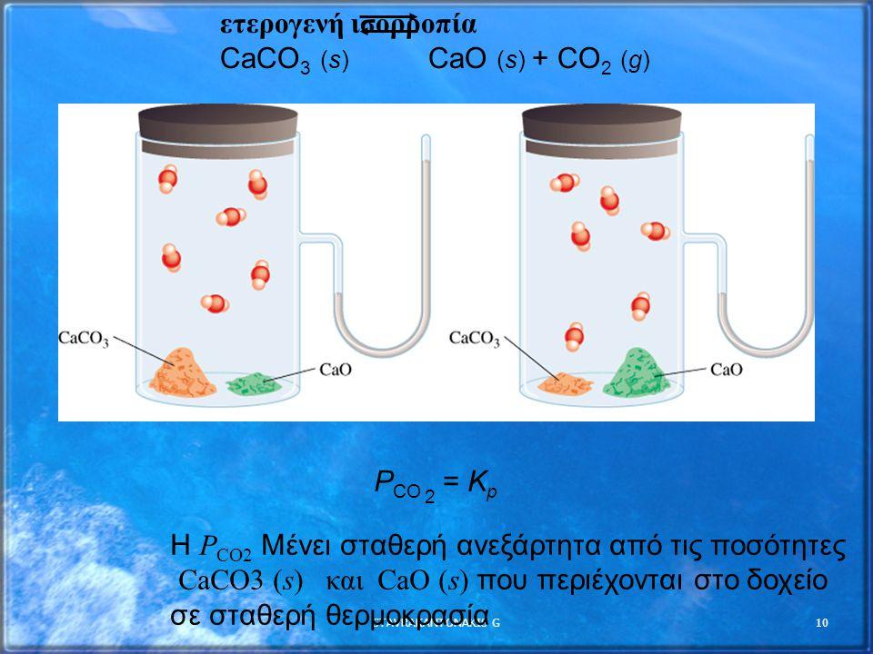 STAVRAKANTONAKIS G10 P CO 2 = K p ετερογενή ισορροπία CaCO 3 (s) CaO (s) + CO 2 (g) Η P CO2 Μένει σταθερή ανεξάρτητα από τις ποσότητες CaCO3 (s) και C