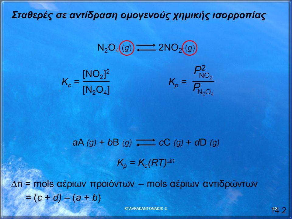 STAVRAKANTONAKIS G15 Σταθερές σε αντίδραση ομογενούς χημικής ισορροπίας N 2 O 4 (g) 2NO 2 (g) K c = [NO 2 ] 2 [N 2 O 4 ] K p = NO 2 P2P2 N2O4N2O4 P aA (g) + bB (g) cC (g) + dD (g) 14.2 K p = K c (RT)  n  n = mols αέριων προιόντων – mols αέριων αντιδρώντων = (c + d) – (a + b)