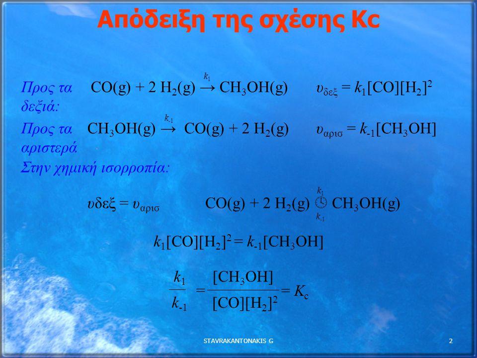STAVRAKANTONAKIS G2 Απόδειξη της σχέσης Κc Προς τα δεξιά: CO(g) + 2 H 2 (g) → CH 3 OH(g) Προς τα αριστερά : CH 3 OH(g) → CO(g) + 2 H 2 (g) Στην χημική