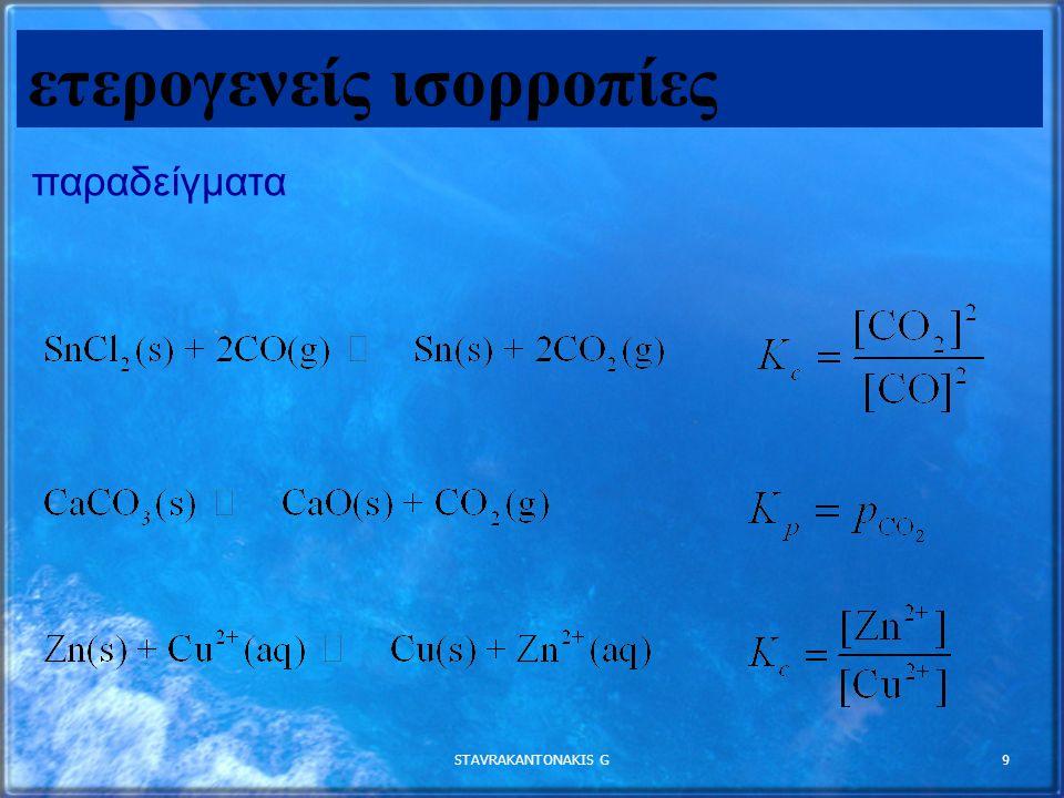STAVRAKANTONAKIS G10 P CO 2 = K p ετερογενή ισορροπία CaCO 3 (s) CaO (s) + CO 2 (g) Η P CO2 Μένει σταθερή ανεξάρτητα από τις ποσότητες CaCO3 (s) και CaO (s) που περιέχονται στο δοχείο σε σταθερή θερμοκρασία