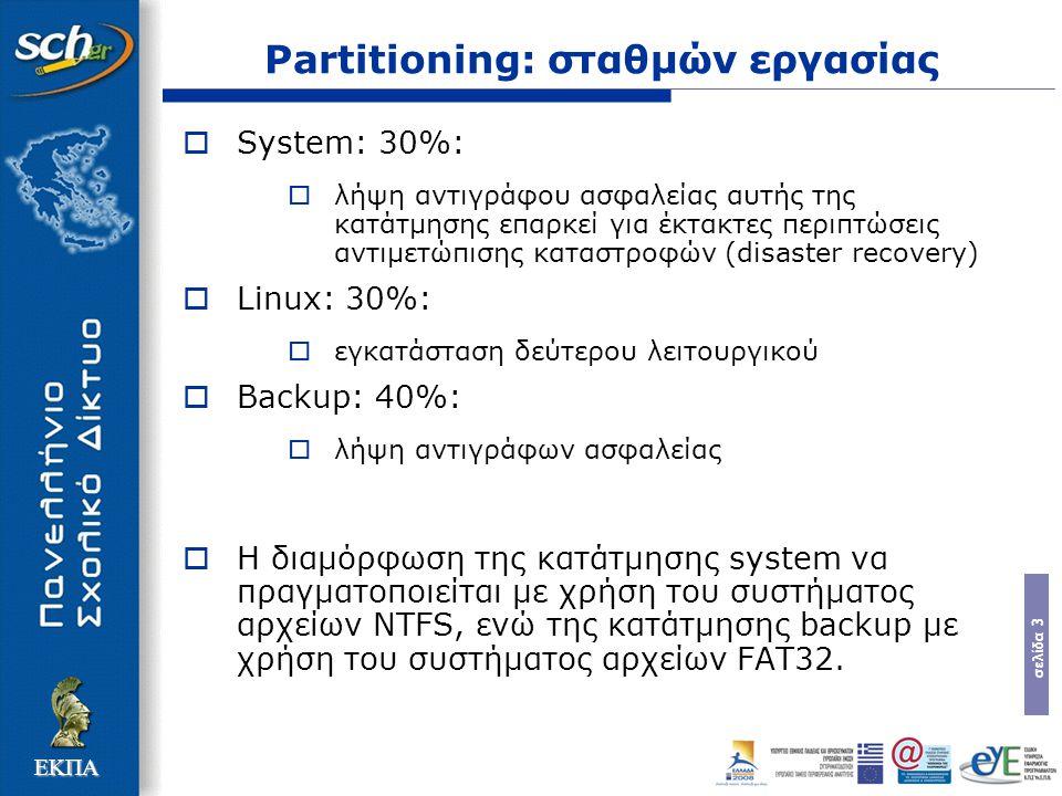 σελίδα 3 ΕΚΠΑ Partitioning: σταθμών εργασίας  System: 30%:  λήψη αντιγράφου ασφαλείας αυτής της κατάτμησης επαρκεί για έκτακτες περιπτώσεις αντιμετώπισης καταστροφών (disaster recovery)  Linux: 30%:  εγκατάσταση δεύτερου λειτουργικού  Backup: 40%:  λήψη αντιγράφων ασφαλείας  Η διαμόρφωση της κατάτμησης system να πραγματοποιείται με χρήση του συστήματος αρχείων NTFS, ενώ της κατάτμησης backup με χρήση του συστήματος αρχείων FAT32.