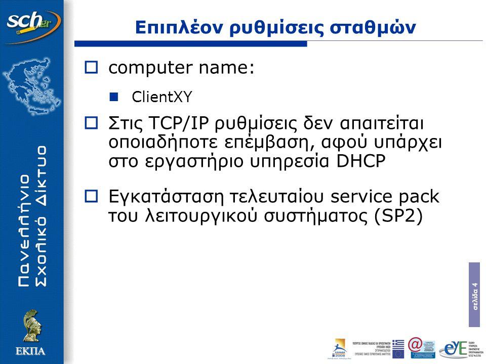 σελίδα 4 ΕΚΠΑ Επιπλέον ρυθμίσεις σταθμών  computer name: ClientXY  Στις TCP/IP ρυθμίσεις δεν απαιτείται οποιαδήποτε επέμβαση, αφού υπάρχει στο εργαστήριο υπηρεσία DHCP  Εγκατάσταση τελευταίου service pack του λειτουργικού συστήματος (SP2)