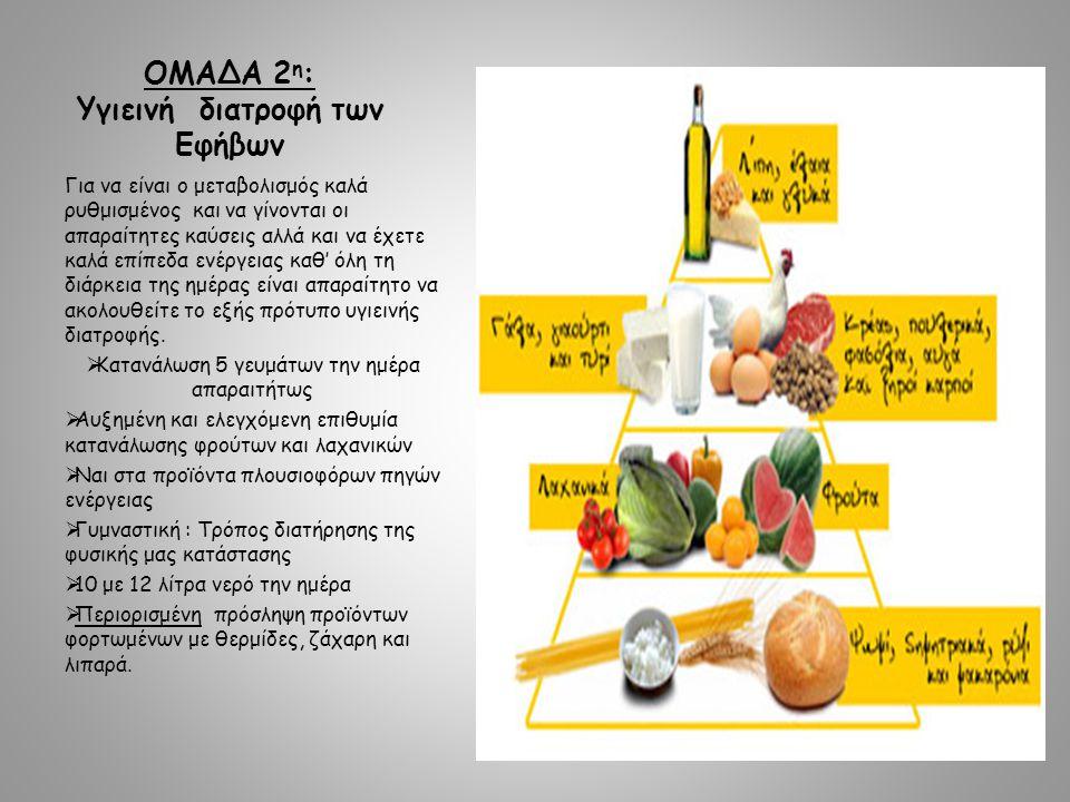 ΟΜΑΔΑ 2 η : Υγιεινή διατροφή των Eφήβων Για να είναι ο μεταβολισμός καλά ρυθμισμένος και να γίνονται οι απαραίτητες καύσεις αλλά και να έχετε καλά επίπεδα ενέργειας καθ' όλη τη διάρκεια της ημέρας είναι απαραίτητο να ακολουθείτε το εξής πρότυπο υγιεινής διατροφής.