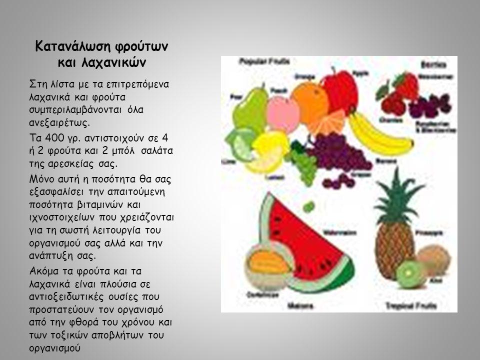 Κατανάλωση φρούτων και λαχανικών Στη λίστα με τα επιτρεπόμενα λαχανικά και φρούτα συμπεριλαμβάνονται όλα ανεξαιρέτως.