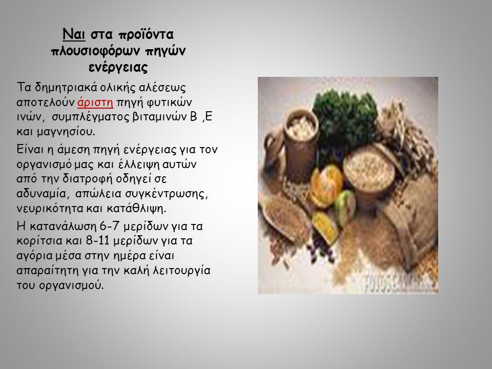 Ναι στα προϊόντα πλουσιοφόρων πηγών ενέργειας Τα δημητριακά ολικής αλέσεως αποτελούν άριστη πηγή φυτικών ινών, συμπλέγματος βιταμινών B,E και μαγνησίου.