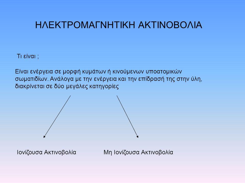 ΗΛΕΚΤΡΟΜΑΓΝΗΤΙΚΗ ΑΚΤΙΝΟΒΟΛΙΑ Τι είναι ; Είναι ενέργεια σε μορφή κυμάτων ή κινούμενων υποατομικών σωματιδίων.
