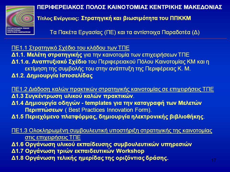 17 Τα Πακέτα Εργασίας (ΠΕ) και τα αντίστοιχα Παραδοτέα (Δ) ΠΕ1.1 Στρατηγικό Σχέδιο του κλάδου των ΤΠΕ Δ1.1. Μελέτη στρατηγικής για την καινοτομία των