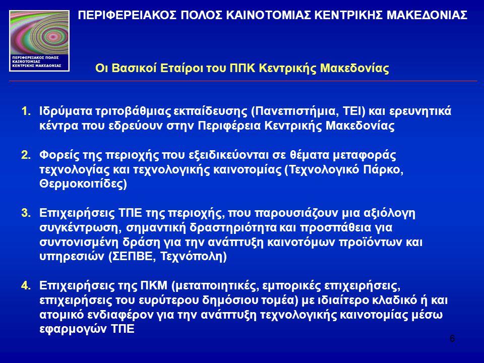 6 Οι Βασικοί Εταίροι του ΠΠΚ Κεντρικής Μακεδονίας ΠΕΡΙΦΕΡΕΙΑΚΟΣ ΠΟΛΟΣ ΚΑΙΝΟΤΟΜΙΑΣ ΚΕΝΤΡΙΚΗΣ ΜΑΚΕΔΟΝΙΑΣ 1.Ιδρύματα τριτοβάθμιας εκπαίδευσης (Πανεπιστήμ