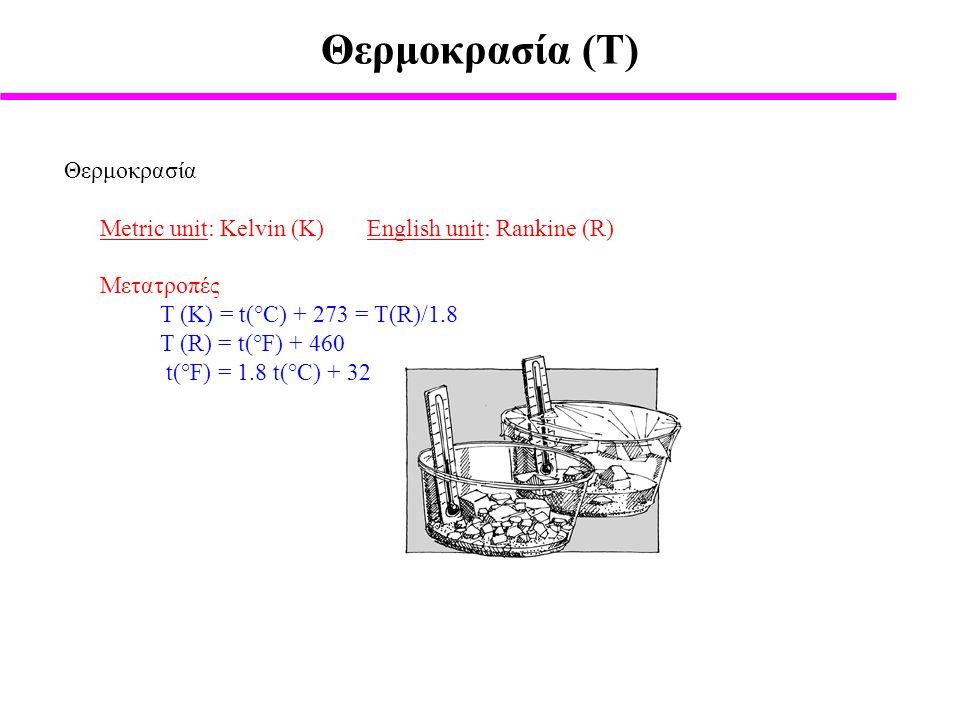 Θερμοκρασία (Τ) Θερμοκρασία Metric unit: Kelvin (K) English unit: Rankine (R) Μετατροπές T (K) = t(°C) + 273 = T(R)/1.8 T (R) = t(°F) + 460 t(°F) = 1.8 t(°C) + 32