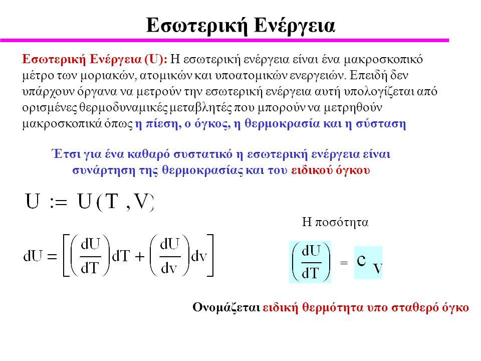 Εσωτερική Ενέργεια Εσωτερική Ενέργεια (U): Η εσωτερική ενέργεια είναι ένα μακροσκοπικό μέτρο των μοριακών, ατομικών και υποατομικών ενεργειών.
