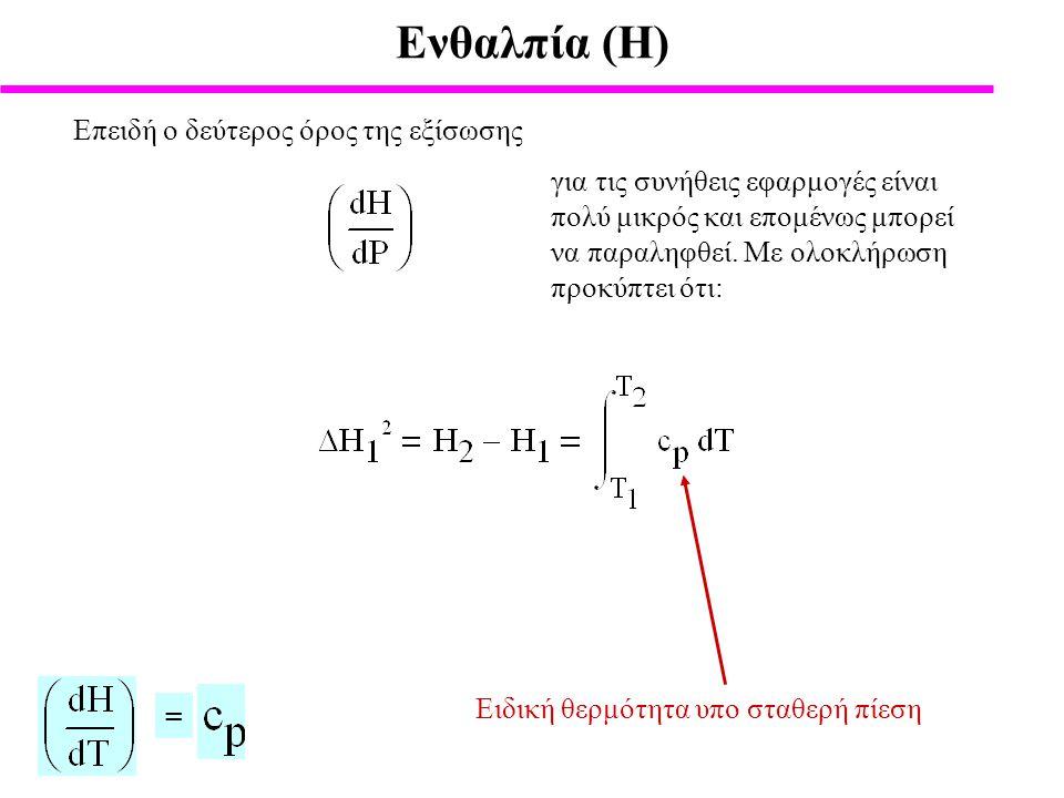Ενθαλπία (Η) Ειδική θερμότητα υπο σταθερή πίεση = Επειδή ο δεύτερος όρος της εξίσωσης για τις συνήθεις εφαρμογές είναι πολύ μικρός και επομένως μπορεί να παραληφθεί.