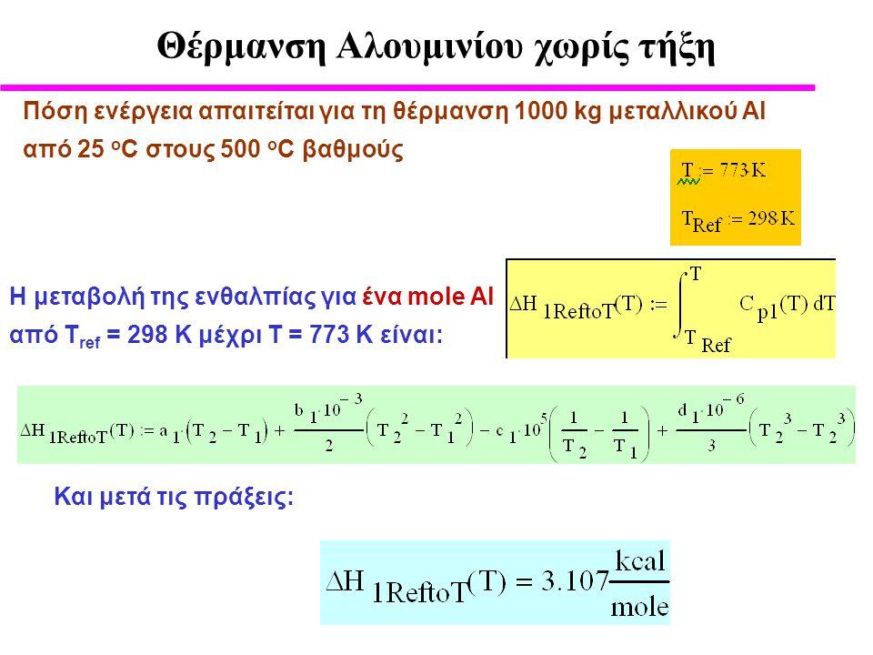 Πόση ενέργεια απαιτείται για τη θέρμανση 1000 kg μεταλλικού Αl από 25 ο C στους 500 ο C βαθμούς Η μεταβολή της ενθαλπίας για ένα mole Al από Τ ref = 298 K μέχρι Τ = 773 Κ είναι: Και μετά τις πράξεις: Θέρμανση Αλουμινίου χωρίς τήξη