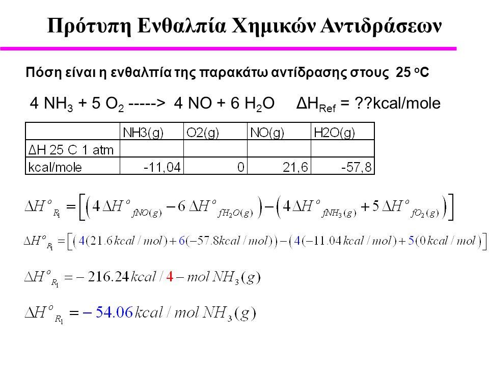 Πρότυπη Ενθαλπία Χημικών Αντιδράσεων Πόση είναι η ενθαλπία της παρακάτω αντίδρασης στους 25 ο C 4 ΝΗ 3 + 5 O 2 -----> 4 ΝΟ + 6 Η 2 Ο ΔH Ref = ??kcal/mole
