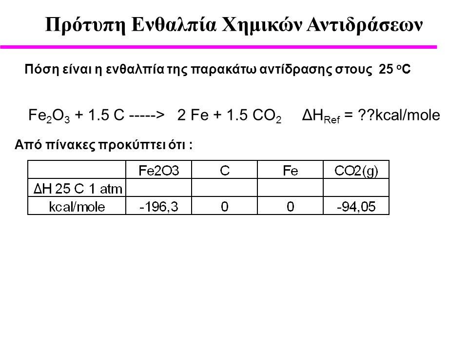 Πρότυπη Ενθαλπία Χημικών Αντιδράσεων Πόση είναι η ενθαλπία της παρακάτω αντίδρασης στους 25 ο C Από πίνακες προκύπτει ότι : Fe 2 O 3 + 1.5 C -----> 2 Fe + 1.5 CO 2 ΔH Ref = ??kcal/mole